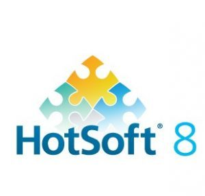 Hotsoft 8 logo - lego pieces in triangle shate