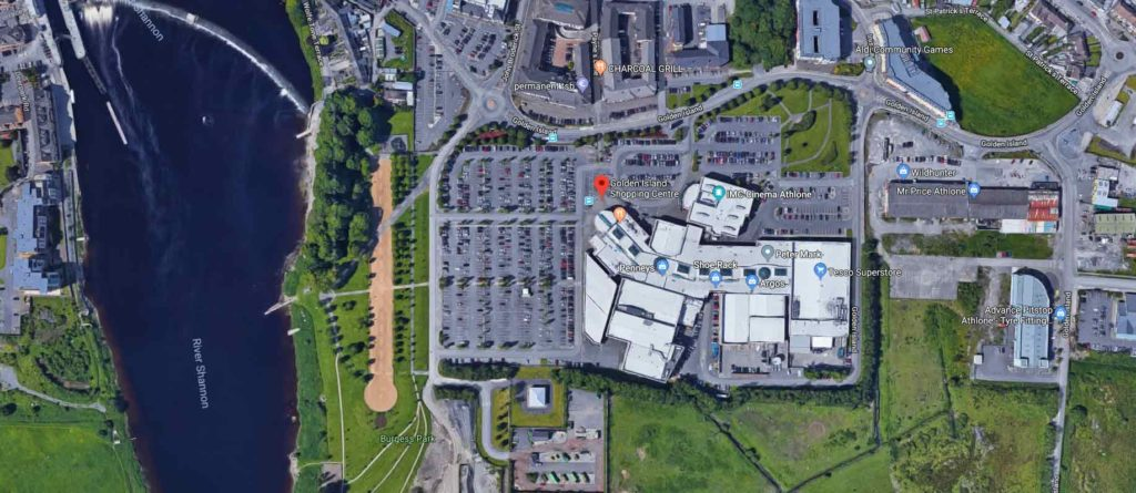 aerial view of Golden Island Shopping Centre Athlone - google maps