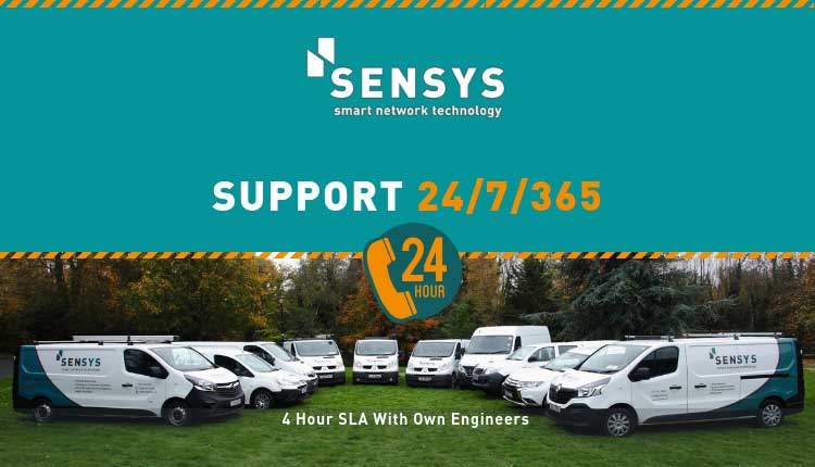 Top half reads SenSys Support24/7/365 over image of SenSys branded vans