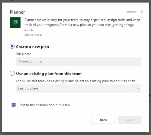 Tips for using microsoft teams - use the planner