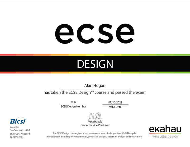 ECSE Certified - Alan Hogan